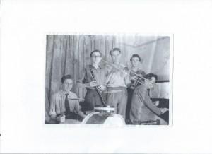 'Orion Dixielanders' circa1949 Keith Grant (drums) Ken Godfrey (clarinet) Norman Bull (trombone) John Godfrey (trumpet) Hugh Ledigo(piano )