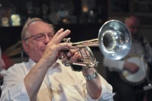 John Shepherd (trumpet) of The Original  Eastside Stompers Jazz Band (1) at Farnborough Jazz Club, Kent, UK, on 21st May 2010.  Photo by Howard Leigh