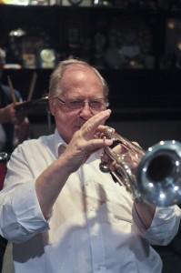John Shepherd (trumpet) of The Original  Eastside Stompers Jazz Band (1) at Farnborough Jazz Club, Kent, UK, on 21 May 2010.  Photo by    Howard Leigh