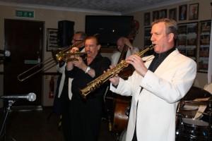 Some of Tony's stars: Al Nicols (rds), Denny Ilett (trmpt), Dave Hewitt (trmb) & Andy Lawrence (db). Photo by Mike Witt. 29may2015