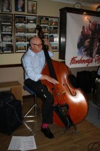 Harvey Western (d.bass), one of Barry Palser's Super Six at Farnborough Jazz Club, Kent 19jun2015. Photo by Mike Witt.