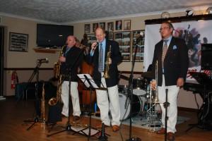 Mardi Gras JazzBand at Farnborough Jazz Club on 20th November 2015. (LtoR) John Elmer (bass clarinet), Marc Easener (sousaphone), Leigh Henson (trumpet), Rob Pearce (trombone), (hidden) Brian Bell (drums) and John Stuart (banjo). Photo by Pete Marr.
